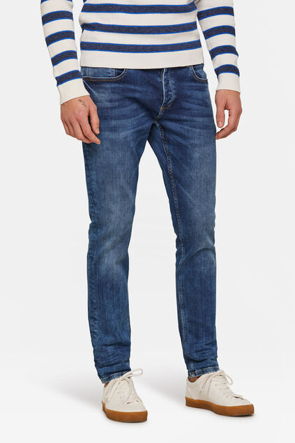 Heren slim tapered jog denim jeans Blauw