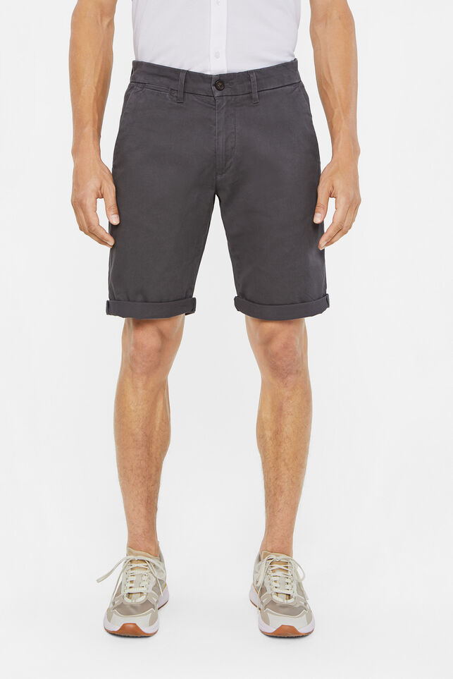 Heren slim fit chinoshort Donkergrijs