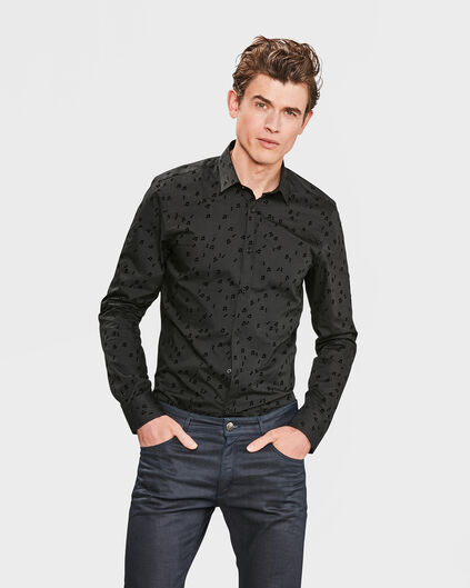 HEREN SLIM FIT MUSIC NOTES OVERHEMD Zwart