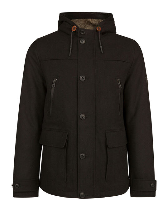 HEREN HOODED WOOL BLEND PARKA JAS Zwart