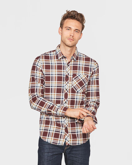 HEREN RELAXED FIT FLANEL CHECKED OVERHEMD Aubergine