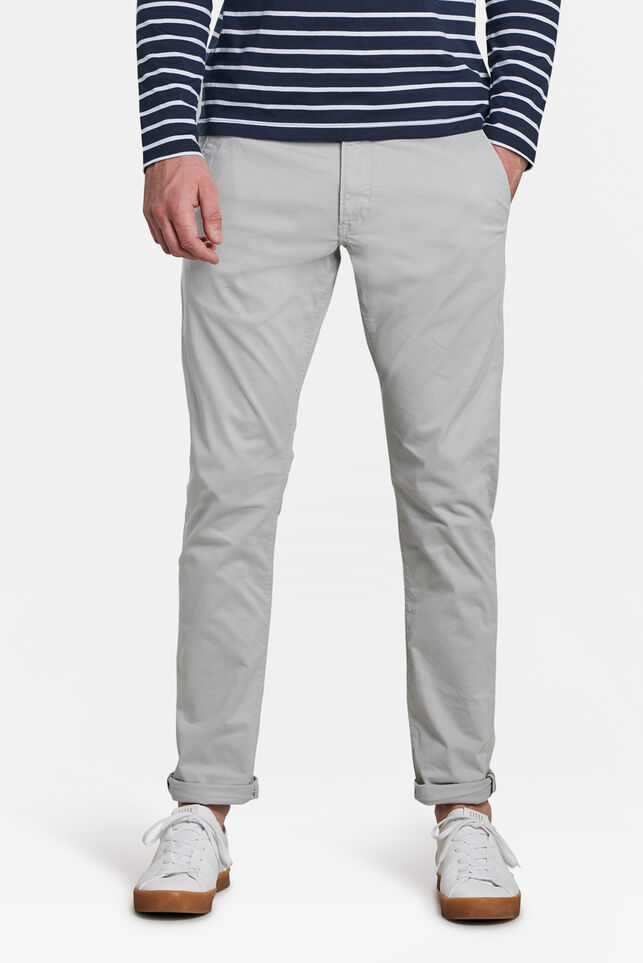 Heren slim tapered chino Lichtgrijs