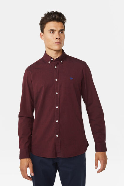 Heren Slim fit Oxford overhemd Bordeauxrood