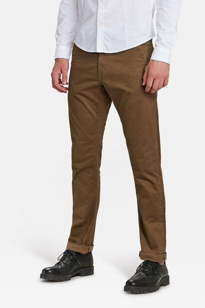 Heren slim tapered chino Kaneelbruin