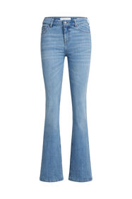 Dames mid waist flared jeans met stretch_Dames mid waist flared jeans met stretch, Lichtblauw