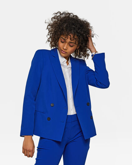 Dames slim fit dubble breasted blazer Kobaltblauw