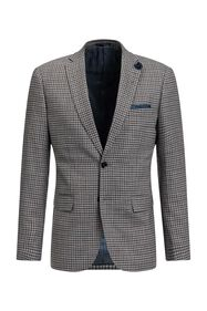 Heren slim fit geruite blazer, Carey_Heren slim fit geruite blazer, Carey, Grijs