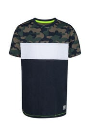 Jonges camouflage colourblocking T-shirt_Jonges camouflage colourblocking T-shirt, Donkerblauw