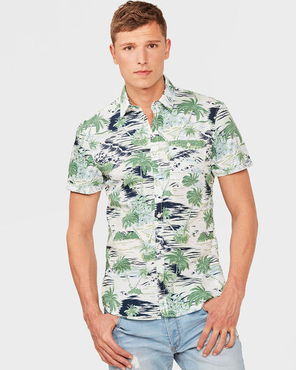 HEREN REGULAR FIT PALM TREE PRINT OVERHEMD Mintgroen