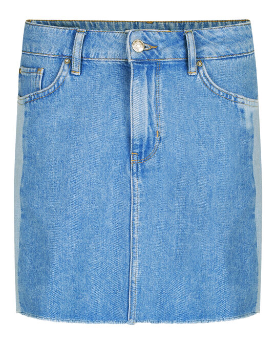 DAMES CONTRAST PANEL DENIM ROK Felblauw