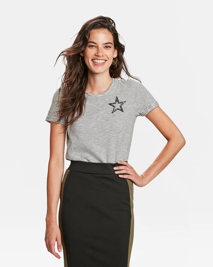 DAMES GESTREEPT T-SHIRT Wit
