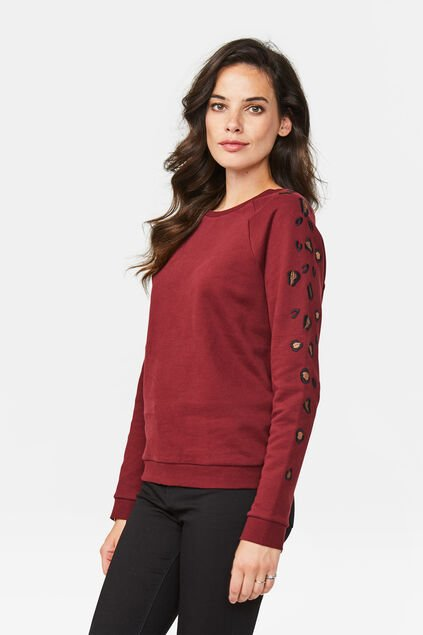 Dames luipaarddessin sweater Donkerrood
