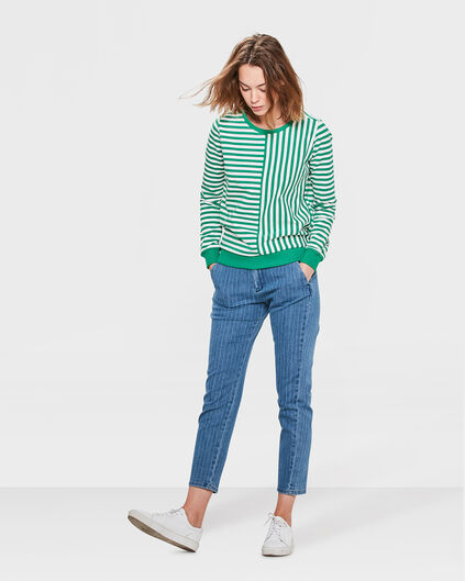 DAMES SLIM TAPERED COMFORT STRETCH PINSTRIPE CHINO Blauw