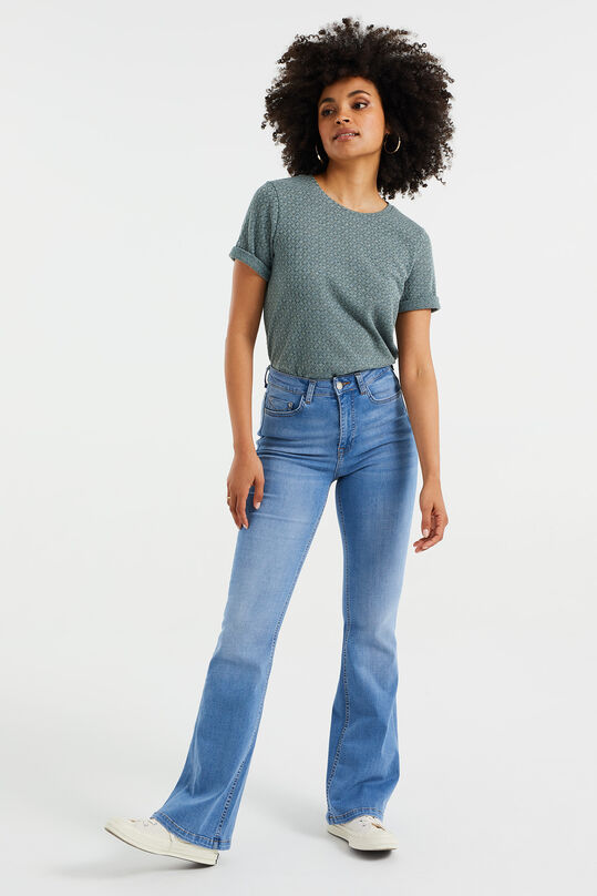 Dames high rise flared jeans met stretch Lichtblauw