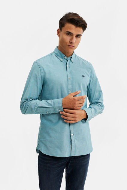 Heren Slim fit Oxford overhemd Pastelblauw