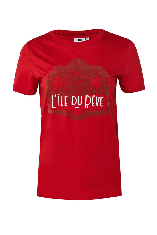 Dames T-shirt met flockprint Rood