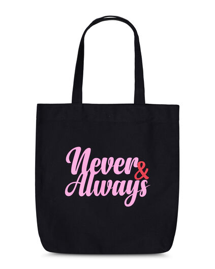 DAMES NEVER ALWAYS CANVAS TAS Zwart
