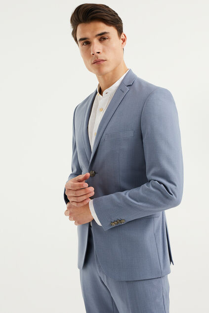 Heren skinny fit blazer met stretch, Dali Blauw