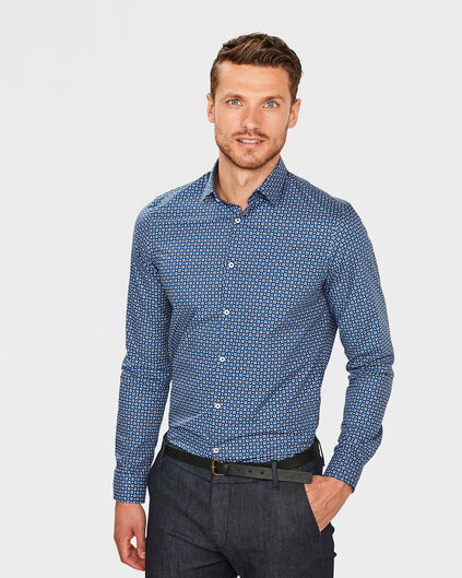HEREN SLIM FIT GRAPHIC PRINT OVERHEMD Blauw