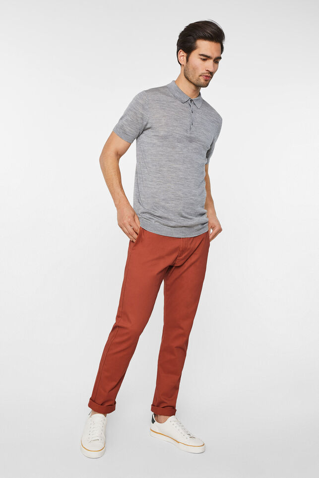 Heren slim tapered effen chino Rood