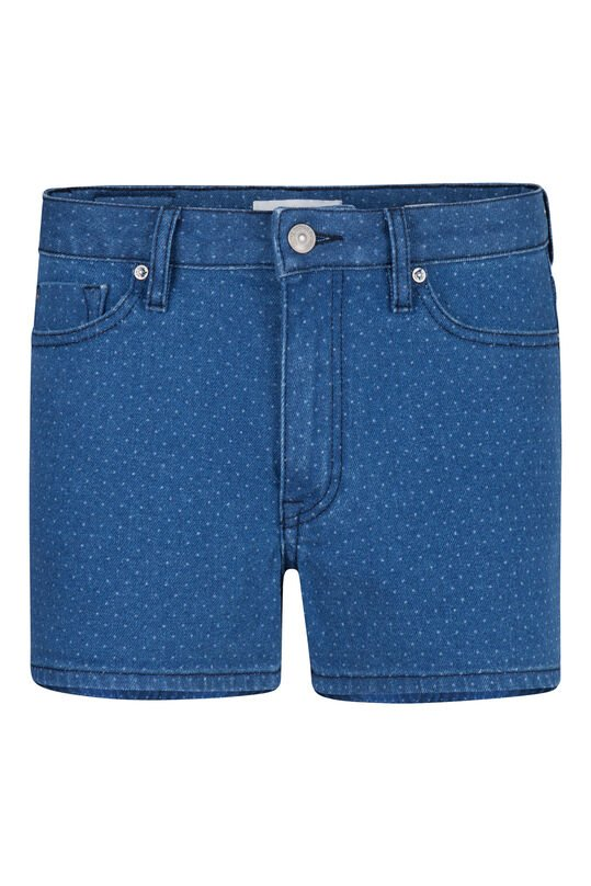 Dames gestipte denim short Blauw
