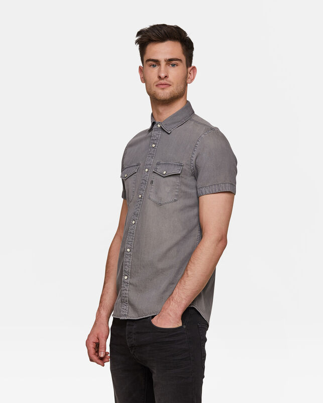 Heren Slim Fit denim overhemd Grijs