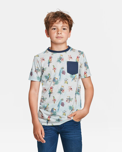 JONGENS PRINT CHEST POCKET T-SHIRT Gebroken wit