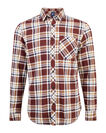 HEREN RELAXED FIT FLANEL CHECKED OVERHEMD, Aubergine