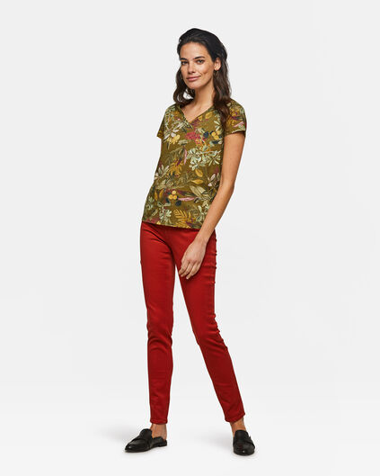 Dames high rise skinny comfort stretch jeans Oranje