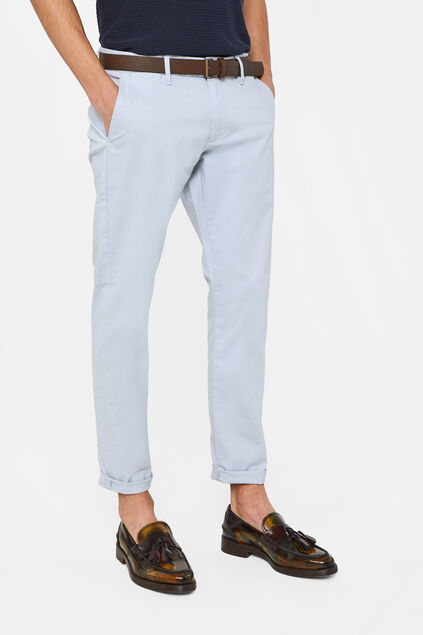 Heren slim fit effen chino Lichtblauw