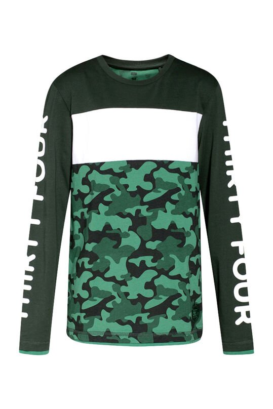 Jongens colourblock T-shirt Legergroen