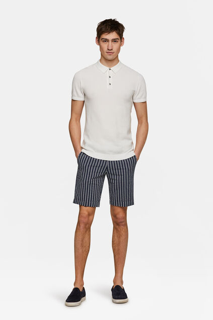 Heren slim fit seersucker short Stuart Blauw
