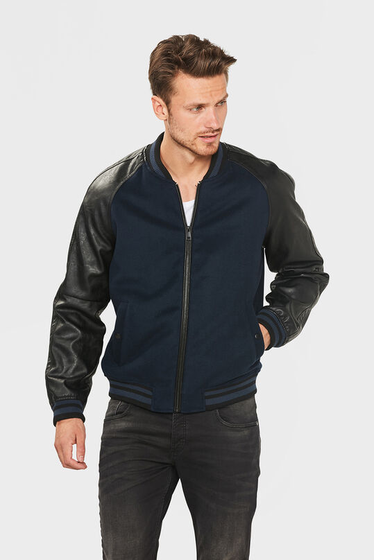 HEREN LEATHER SLEEVE BASEBALL JACKET Donkerblauw