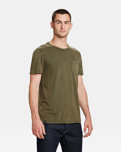 HEREN GARMENT DYE T-SHIRT Legergroen