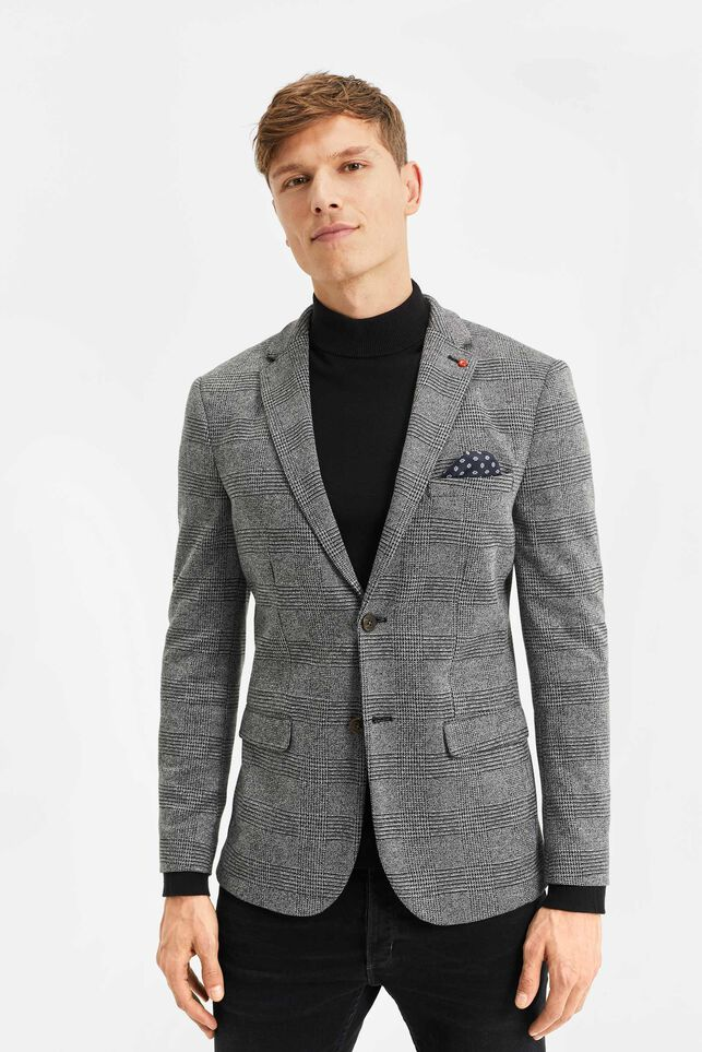 Heren slim fit geruite blazer Grijs