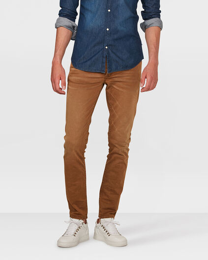 HEREN SKINNY TAPERED STRETCH BROEK Kaneelbruin