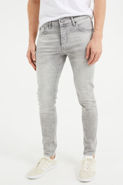 Heren skinny fit jeans van jog denim Grijs