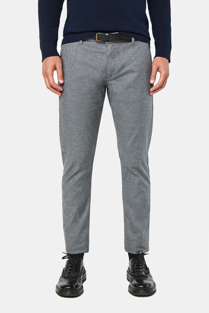 Heren gemêleerde slim tapered chino Grijs