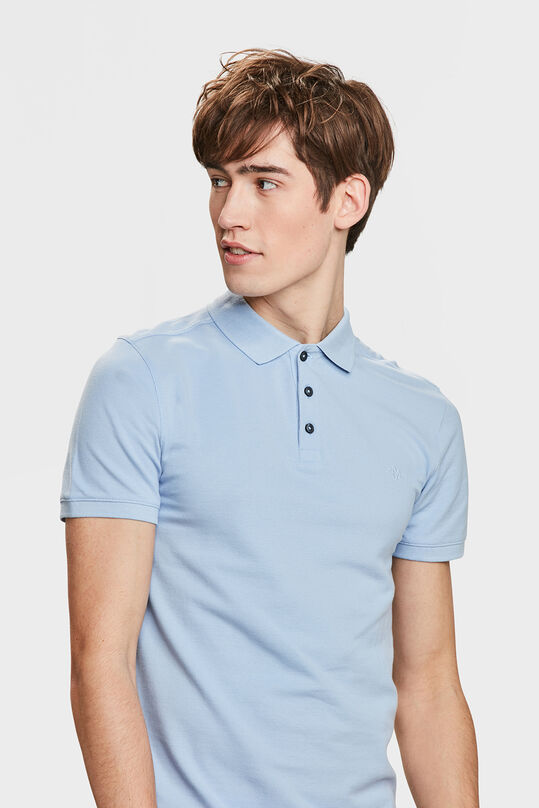 HEREN ORGANIC COTTON PIQUÉ POLO Lichtblauw