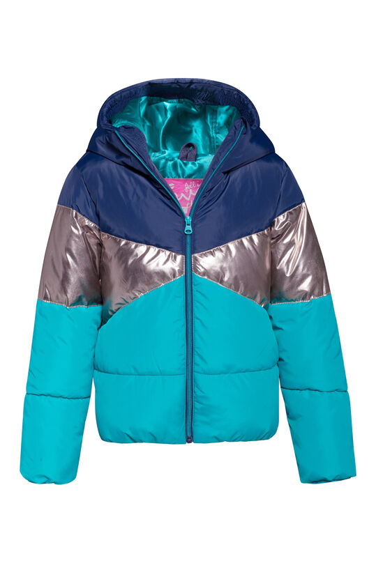 Meisjes colourblock bomberjacket Turkoois