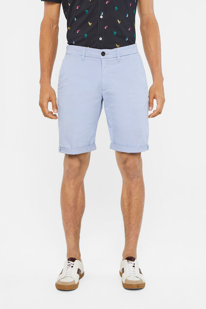 Heren slim fit chinoshort met stretch Lichtblauw