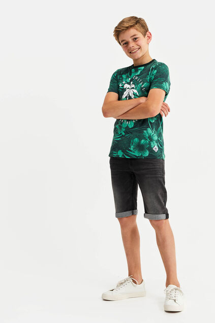 Jongens T-shirt met bladerenprint All-over print