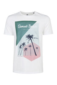 Heren sunset beach print T-shirt_Heren sunset beach print T-shirt, Wit