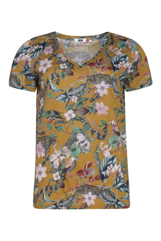 Dames jungle print T-shirt Mosterdgeel