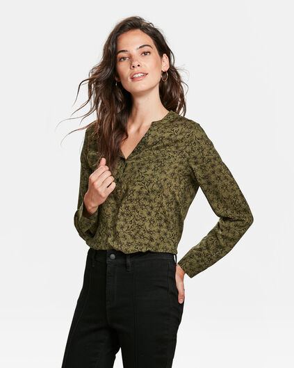 DAMES FLOWER PRINT BLOUSE Legergroen