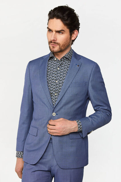 Heren tailored fit blazer met dessin Vinci Blauw