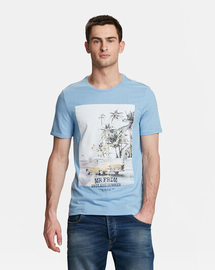 HEREN MR. FREEDOM PRINT T-SHIRT Lichtblauw