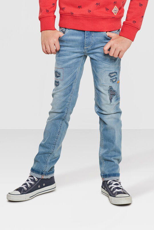 JONGENS SKINNY FIT POWER STRETCH RIP & REPAIR JEANS Lichtblauw