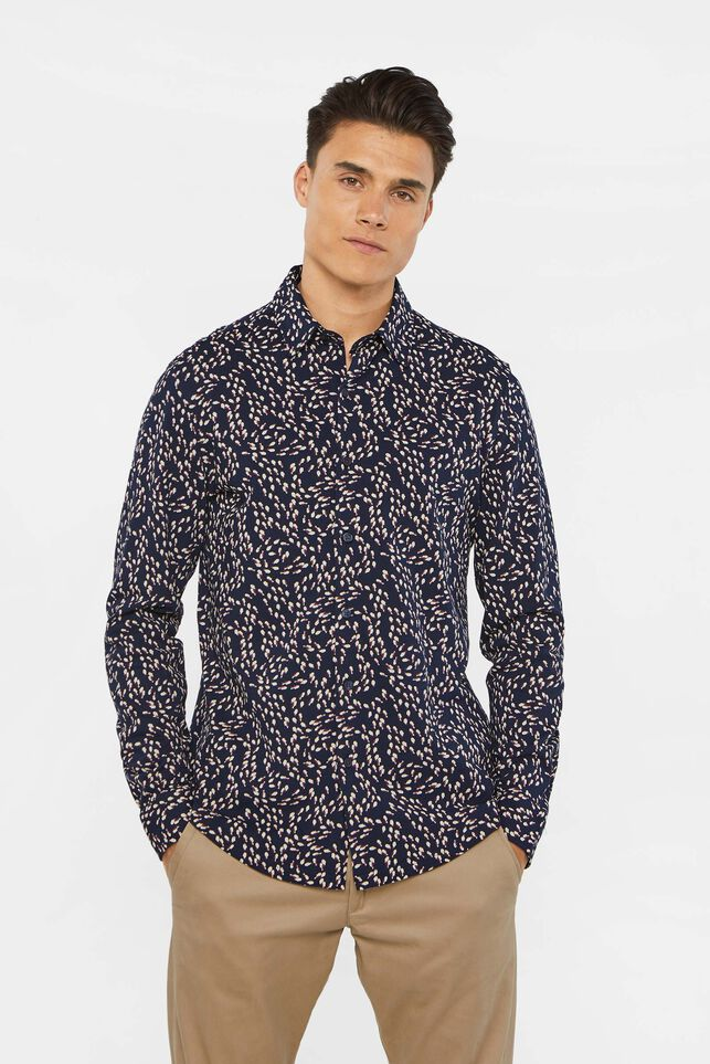 Heren slim fit overhemd van piquékatoen All-over print