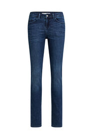 Dames mid rise slim fit jeans met super stretch_Dames mid rise slim fit jeans met super stretch, Donkerblauw